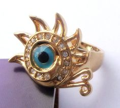 New yellow Gold GP turquoise women's ring girl's gift size8 ssjz20