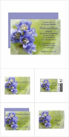 Little Purple Flowers Wedding Stationery Set the tone for your garden wedding theme with the pretty Little Purple Flowers Wedding Stationery Collection. Choose from customizable marriage invitations, save the date announcements, thank you notes, greeting cards or postage stamps. These natural custom wedding paper products feature a digitally painted close up floral photograph of little purple flower blossoms with a blurred green garden background. #gardenwedding #purplewedding