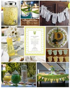 Weekly baby shower palatte - yellow and green onesie baby sh Cute Baby Shower Ideas, Baby Shower Favors, Shower Party, Baby Shower Parties, Baby Shower Themes, Baby Shower Verde, Shower Bebe, Fiesta Baby Shower, Baby Boy Shower