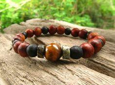 Tigers Eye Turquoise & Wooden Beaded Men's Bracelet /