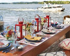 Lakeside Living, Southern Ladies, Red Lantern, Al Fresco Dining, Beach Picnic, Outdoor Entertaining, Outdoor Parties, A Table, Tablescapes