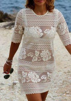 Fabulous Crochet a Little Black Crochet Dress Ideas. Georgeous Crochet a Little Black Crochet Dress Ideas. Filet Crochet, Crochet Blouse, Crochet Lace, Knit Dress, Summer Tunics, Summer Dresses, Mode Crochet, White Tunic, Crochet Flower Patterns