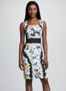Multicolor Scoop Neckline Sleeveless Floral Printed Sheath Dress