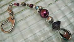 Purple Bead Keychain Chunky Bead Keychain Silver by mscenna, $8.00