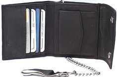 Men's Genuine Lambskin Leather Wallet with Chain and Snaps #4225 US