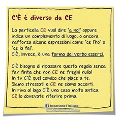 C'È è diverso da CE Seguite @ilearnitalian . #learningitalian #learnitalian…