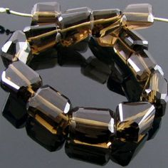 11-16mm - AAA Smoky Quartz Step-Cut Nuggets Bead Strands