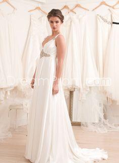 Glamorous+Empire+Straps+Floor-Length+Court+Beaded+Wedding+Dresses