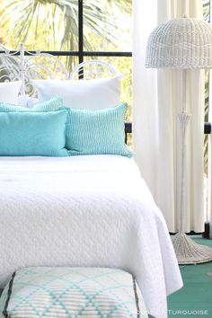 white and blue quilt bedding coastal As Time Goes By - Tybee Island, Georgia Antique Headboard, Wicker Headboard, Anthropologie Rug, Beach Bedspreads, Coastal Living Magazine, Porch Paint, Sleeping Porch, House Of Turquoise, As Time Goes By