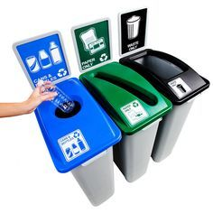 23-Gallon Large Simple Sort Triple Recycling Station | Recycle Away
