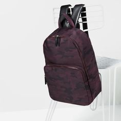 BURGUNDY CAMOUFLAGE BACKPACK from Zara