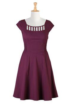 Wine Stretch Poplin Dresses, Cutout Yoke Fall Dresses Women's fashion dress designs - Shirtdresses: All Women's Dresses at eShakti - | eShakti.com