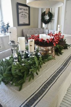 Simple Christmas Ideas ... If you have a side table or buffet that will not be used, then decorate it .... This is a dining table decorated, but the idea could translate to a mantle, a kitchen countertop for a cocktail party, or even an entry table