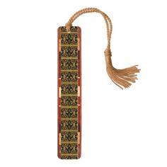 #wood - #Raw Cherry Vintage Pattern Wood Bookmark