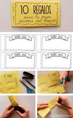 """Chequera para imprimir """"vale por"""" para regalos originales. Descarga las 2 plantillas en pdf: Portada, contraportada y hojas interiores..."""