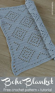 Free filet crochet pattern with a step-by-step photo tutorial for Boho Baby Blanket via @haaknerd