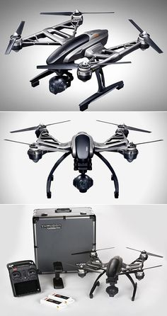 "Unlike similar models drones, Yuneec's Typhoon Drone has ""Steady Grip"" for smooth shooting. Latest Drone, New Drone, Aerial Drone, Drone Diy, Remote Control Drone, Flying Drones, Drone For Sale, Drone Technology, Technology Gadgets"
