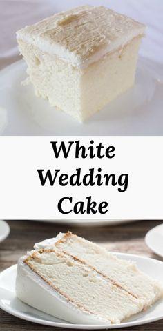 Wedding Cake - Delicious white cake with white buttercream icing. Tastes l., White Wedding Cake - Delicious white cake with white buttercream icing. Tastes l., White Wedding Cake - Delicious white cake with white buttercream icing. Tastes l. Wedding Cake Flavors, Wedding Cakes With Cupcakes, Cupcake Cakes, Wedding Cake Frosting, Cake Wedding, Wedding Recipe, White Cake Recipe No Butter, Wedding Cake Recipe Using Cake Mix, Cake