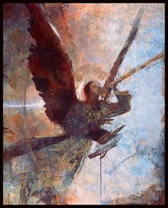 Angel by J. Kirk Richards. The original painting of this giclee reproduction was created with oil paint, gold leaf, and paper collage. The angel uses music to proclaim truth to the world. Small size is a limited edition of 350. Medium size is a limited edition of 250. Large size is a limited edition of 100.
