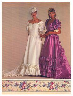 1985 Brides Magazine, Bridal Originals ad.  I love this BM dress color!!!