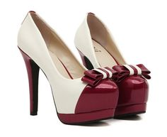 Color Block Bow Knot High Heel Shoes