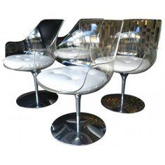 """4 chaises """"Champagne"""", Estelle LAVERNE - années 50"""