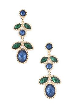 Lovely Dangling Earrings in Emerald and Sapphire Shimmer. #tiffany silver tiffany necklace with heart