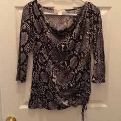 Michael Kors snake print blouse Michael Kors snake print blouse, very stretchy fabric, size S, but fits M perfectly Michael Kors Tops Blouses