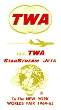 Matchbook Cover TWA StarStream Jets to New York's Worlds Fair 1964-65 - Trans World Airlines