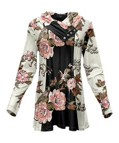 Look what I found on #zulily! Pink & Black Floral Cowl Neck Tunic - Plus Too #zulilyfinds