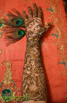 Radha & Krishna - full bridal henna #chandnimehndi #henna #mehndi #Asian #Indian #Pakistani #wedding #shaadi #art #design #bodyart #bodypainting #symbol #love #Hindu #Krishna #Radha #bridal