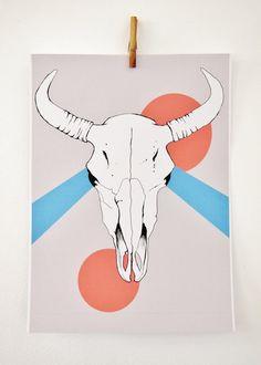 Bison Skull Print