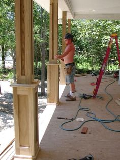 Boxing in front porch posts. Boxing in front porch posts. Front Porch Posts, Front Porch Columns, Front Porches, Deck Posts, How To Build Porch Columns, Porch Beams, Front Porch Deck, Front Porch Remodel, Balcony Deck