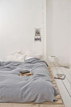 this inspiration for the bedroom ... floor bed... love the blue color