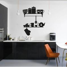 Mensole Cucina - Adesivo da parete Vinyl Wall Stickers Decals: Amazon.it: Fai da te