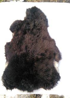 Genuine sheepskin Karachai breed of sheep. Genuine fur rug. Sheepskin Throw Black leather rug Chair cover Kids Room.Bedroom Rugs by HandMadeParadize on Etsy