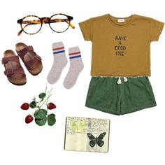 Untitled #132 by greerveronica on Polyvore featuring polyvore fashion style Birkenstock François Pinton Moleskine