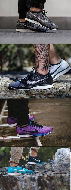 "Nike Flyknit Racer ""OREO"" 2.0 Dark Grey/White-Black,Black/White,Racer Game Royal/Black-Pink Flash,RACER TURQUOISE For Men and Wome only $40"