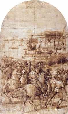 Enea Piccolomini Leaves for the Council of Basel. c. 1502. Pen and ink, brush and wash, 705 x 415 mm. Galleria degli Uffizi, Florence.