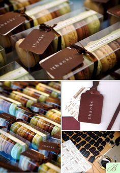 Favors -- Macarons from Bouchon to tie in the special connection we have to Yountville/Thomas Keller restaurants
