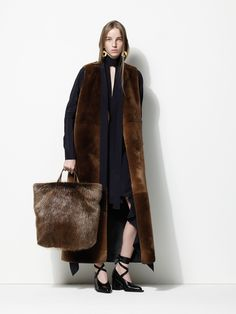 Black Ankle Length Dress with a Sleeveless Long Fur Brown Coat - Marni Pre-Fall 2016 Fashion Show