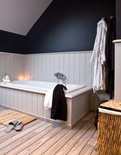 Landelijke stijl in badkamer met stenen laminaat