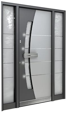 Designer modern front door LED lights & Front doors - exclusive doors - Aluminium doors + 2 side elements ...