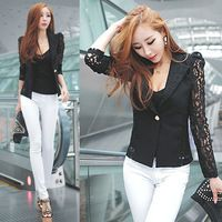 Envío gratuito de Fashional coreano Sexy elegante mujer de manga larga de encaje de ganchillo Blazer chaqueta de solapa blusa camisa de la capa negro L-XL