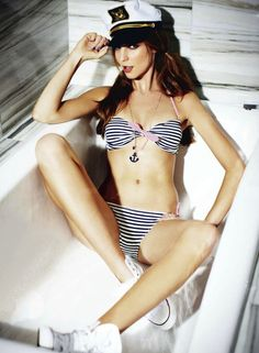 nautical, striped bikini #KyFun