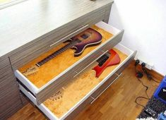 One day I'll have drawers like this in my house. Its the only way to make sure they stay warm and cozy for the winter! #Stringjoy #Geartalk #Guitarist #GearNerds #GuitarPlayer #GearWire #KnowYourTone #GuitarGear #Guitar #CleanTone #ToneForDays | Create your custom string set today at Stringjoy.com #guitar #guitars #electric #acoustic #bassguitar