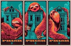 Sloth  Ken Taylor Phish Posters, Omg Posters, Band Posters, Concert Posters, Music Posters, Concert Tickets, Film Posters, Rhys Cooper, Collages