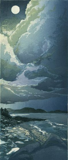"Matthew (Matt) Brown - ""Moon Over Mt. Desert Island"" (2nd State) - Color woodblock print"