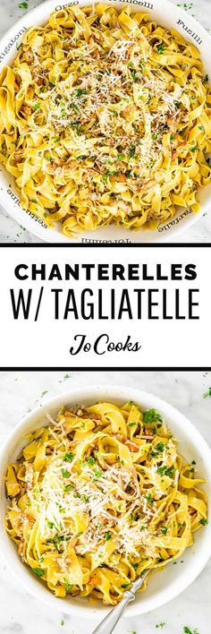 Dinner has never been easier than this Chanterelle Mushrooms with Tagliatelle. With just a few basic ingredients, you'll have a restaurant-worthy dish ready to go on the dinner table in just 30 minutes! #chanterelles #tagliatelle Best Pasta Dishes, Pasta Side Dishes, Vegetarian Pasta Recipes, Cooking Recipes, Top Recipes, Greek Recipes, Gourmet Recipes, Yummy Recipes