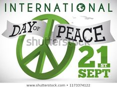 Green peace symbol with entwined ribbon and some doves flying to commemorate International Day of Peace this September. International Day Of Peace, September, Royalty Free Stock Photos, 21st, Ribbon, Green, Image, Tape, Band